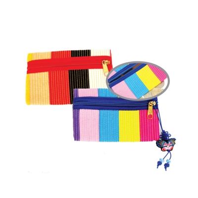 누비 색동 사각동전지갑