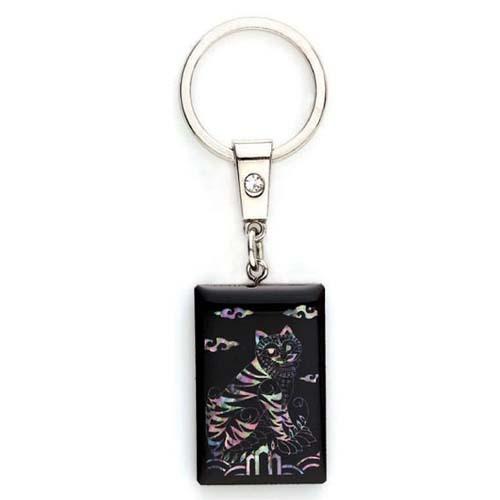 까치호랑이흑단자개사각열쇠고리