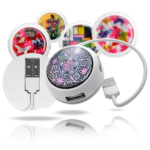 미니 자개원형 USB허브+연장케이블