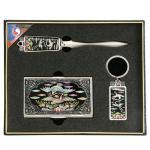쌍학자개(레터칼+열쇠고리+명함지갑) 327-1