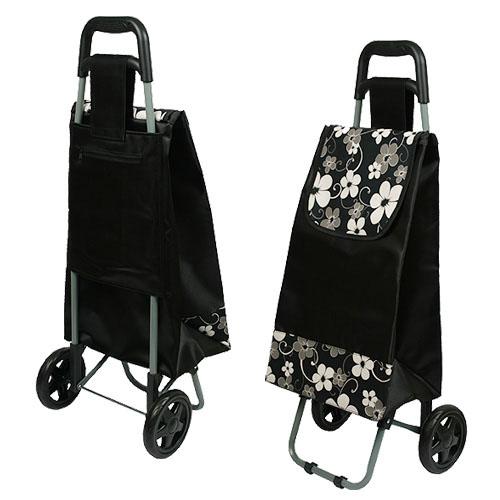 검정 꽃무늬 쇼핑 캐리어
