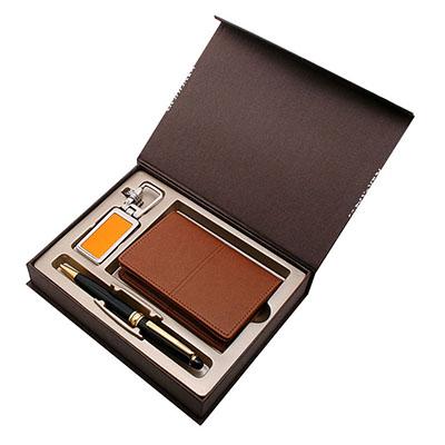 PU민자명함지갑(탄색)+히든메탈열쇠고리(오)+클래식펜(금)