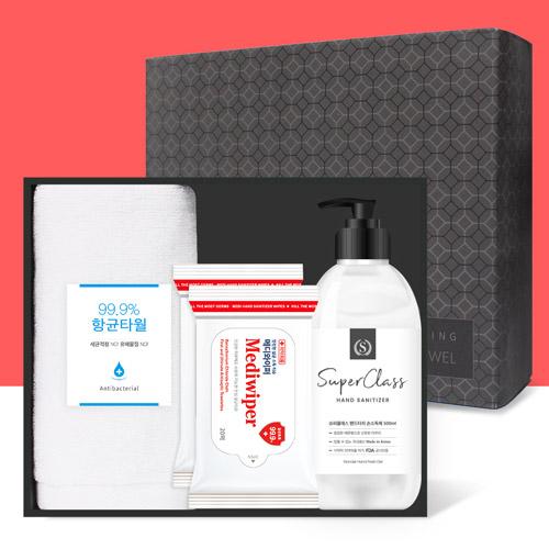 코로나 생활안심세트-V403(항균타월 1P 손소독제 500ml 손소독티슈 20매입*2)
