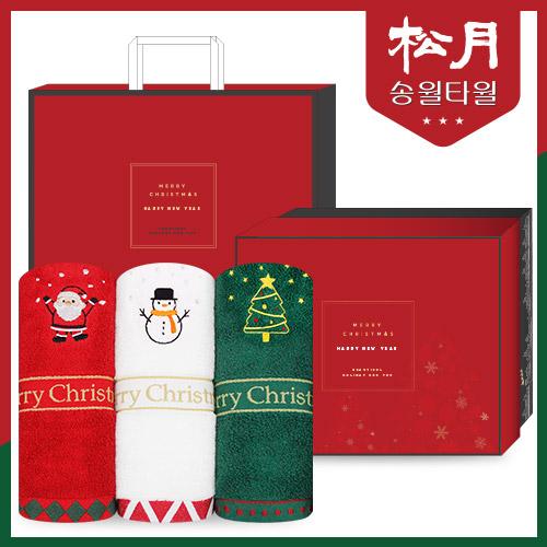 송월 메리크리스마스 타올 3p + 쇼핑백 포함